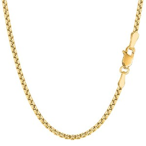 """14k Yellow Gold Round Box Chain Necklace, 2.1mm, 18"""""""