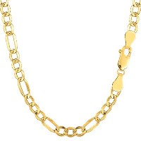 10k Yellow Gold Hollow Figaro Chain Necklace, 4.6mm, 18""
