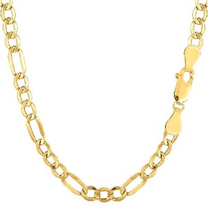 """10k Yellow Gold Hollow Figaro Chain Necklace, 4.6mm, 18"""""""