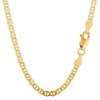 """10k Yellow Gold Mariner Link Chain Necklace, 4.5mm, 24"""""""