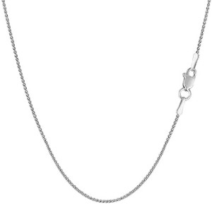 14k White Gold Round Diamond Cut Wheat Chain Necklace, 1.0mm, 18""