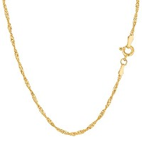 """14k Yellow Gold Singapore Chain Necklace, 1.7mm, 18"""""""