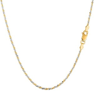 """14k 2 Tone Yellow & White Gold Sparkle Chain Necklace, 1.5mm, 18"""""""