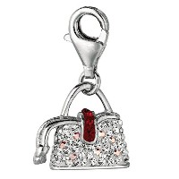 Sterling Silver Crystal Clip On Handbag Charm