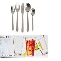 IKEA FORNUFT 4設定( 20 Piece ) Flatware Set and Libbey Exclamation Glassware Drinkingセット