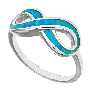 Sterling Silver Infinity Design And Created Opal Ring