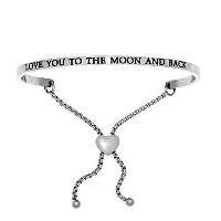 Intuitions Stainless Steel LOVE YOU TO THE MOON AND BACK Diamond Accent Adjustable Bracelet