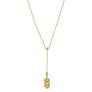 """10K Yellow Gold Love Knot Drop Pendant On 18"""" Larriat Necklace"""