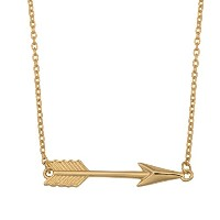 "10K Yellow Gold Arrow Pendant On 18"" Necklace"