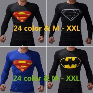 Man of Cosplay Functional Superman and Batman Slim Fit Long Sleeve T Shirt Breathable Fabric Sport...