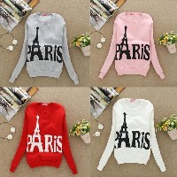 Fashion Women Long Sleeve Slim Sweatshirts Printed Eiffel Tower Casual Pullover Fleece