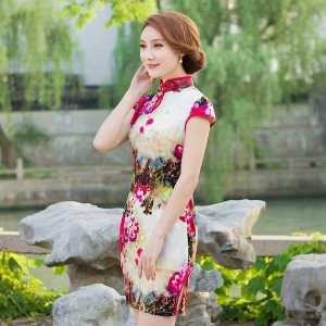 2017 chinese traditional dress fashion wedding sexy slim short cheongsam evening dresses elegant qip