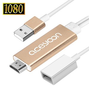 aceyoon Lightning to HDMI / Android to HDMI 変換ケーブル テレビ接続 1080P 高解像度 iPhone と Android 両方対応 USB...