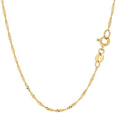 10k Yellow Gold Singapore Chain Necklace, 1.5mm, 16""