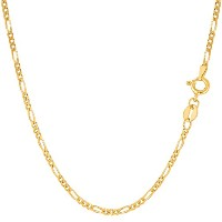 """14k Yellow Gold Classic Figaro Chain Necklace, 1.9mm, 16"""""""