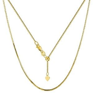 """14k Yellow Gold Adjustable Box Chain Necklace, 0.85mm, 22"""""""