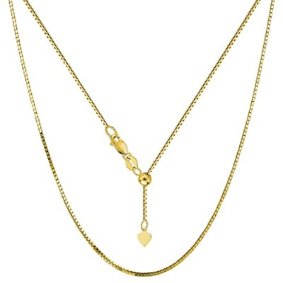 """10k Yellow Gold Adjustable Box Link Chain Necklace, 0.85mm, 22"""""""