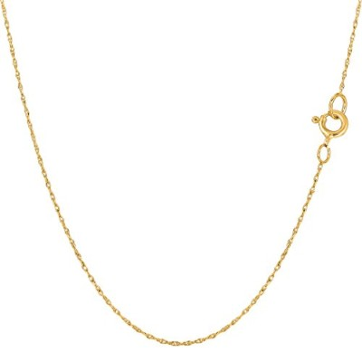 14k Yellow Gold Rope Chain Necklace, 0.4mm, 16""