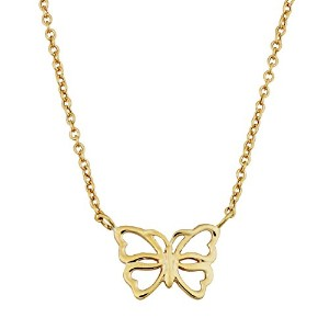 """14K Yellow Gold Butterfly Pendant On 17"""" To 18"""" Adjustable Necklace"""