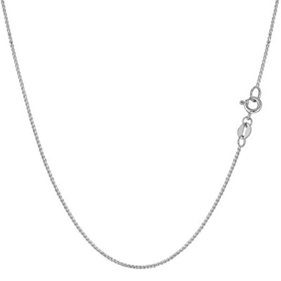 14k White Gold Round Diamond Cut Wheat Chain Necklace, 0.6mm, 18""