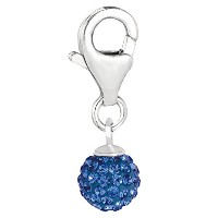 Sterling Silver Crystal September Birthstone Clip On Ball Charm