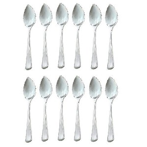 DuraWare Stainless Steel Grapefruit Dessert Spoon, Serrated Edge, Set of 12 by DuraWare