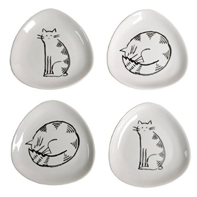 Creative Co-Op 11cm Ceramic Triangle Plates with Cats, Set of 4