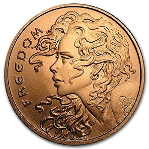自由Girl 1 oz .999 Pure Copper Challenge Coin