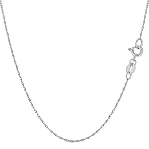 """10k White Gold Rope Chain Necklace, 0.5mm, 18"""""""