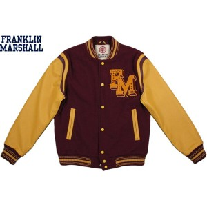 【SALE】30%OFF★FRANKLIN&MARSHALL/フランクリンアンドマーシャル TEDDY JACKET WITH LEATHER SLEEVES袖革スタジャン/バーシティジャケット...