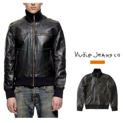【ヌーディージーンズ】KRISTOFFER VEG TAN LEATHER JKT BLACKリブ・レザージャケットVEGETABLE TANNED LAMBSKIN LEATHER REGULAR...