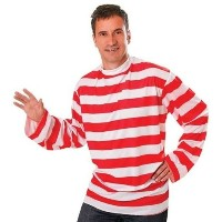Bristol Novelty Striped Shirt. Red/White. Adult Costume - Men's - One Size