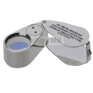 [iKKEGOL]iKKEGOL 40X 25mm All Metal Magnifier Jeweler LED UV Lens Jewelery Loupe Magnifier A0038 ...