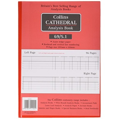 Collins Cathedral A4 Analysis Book 69 Series 5 Cash Columns Across Opening - 96 Pages - 69/5.1