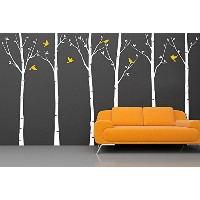 PopDecors Wall Decals & Stickers - Six Birch Trees with Birds 1(102inch H) - Tree Decals for Kids...