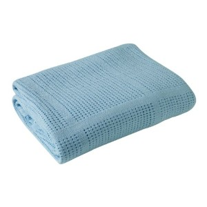 Clair De Lune Cot Bed/ Cot Extra Soft Cotton Cellular Blanket (blue)