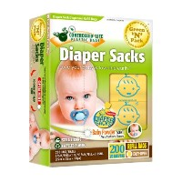 Green'N'Pack Baby Diaper Sacks with Fresh Baby Powder Scent (BPA-Free), 10 Mini Refill Rolls, 200...