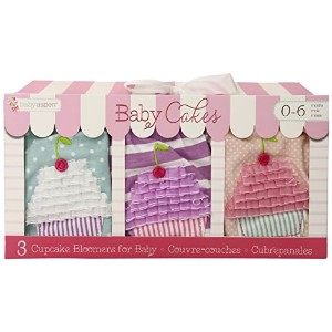 Baby Aspen, Baby Cakes Set of Three Cupcake Bloomers, Pink/Purple/Blue, 0-6 Months by Baby Aspen