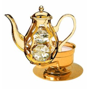 Coffee Pot Tea-Light..... With Clear Swarovski Austrian Crystal by Crystal Delight by Mascot
