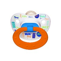 NUK Baby Talk Puller Pacifier in Assorted Colors and Styles, Boy, 0-6 Months by NUK