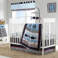 Whale of a Tale 5 Piece Baby Crib Bedding Set with Bumper by Nautica Kids by Crown Crafts