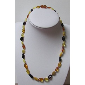 Adult Multi Colour Baltic Amber 44cm Knotted Oval and Elongated Necklace by Amber Corner by Amber...