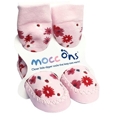Mocc Ons Cute Moccasin Style Slipper Socks - 18-24 Months, Floral Ditsy