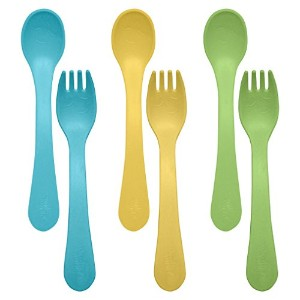 green sprouts Sprout Ware Fork and Spoon, Aqua Assortment, 6 Count by green sprouts