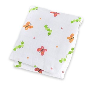 Lulujo Baby Muslin Cotton Swaddling Blanket, Garden Party, 47 x 47 by lulujo Baby