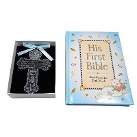 Baby Boy First Bible and 4 Pewter Baptism Guardian Angel Crib Cross by CA & KG