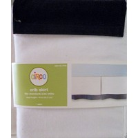 Circo Single Pleat Infant Baby Crib Skirt White with Navy Trim 14 Drop Cotton by Circo [並行輸入品]