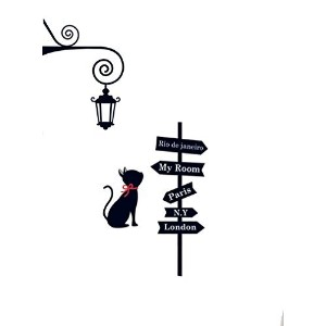 Elegant Black Cat with London Light Guiding to My Room Wall Decor Wall Decal Wall Sticker for Kids...