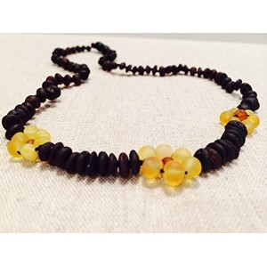 Raw 14 Inch Cherry Lemon Flower Unpolished Baltic Amber Beaded Necklace for Child, big kid, toddler...