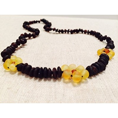 Raw 14 Inch Cherry Lemon Flower Unpolished Baltic Amber Beaded Necklace for Child, big kid, toddler, child, teenager. Cramps, Back ache, head ache. Certificated. (Raw Cherry Flower) by Baltic Essentials